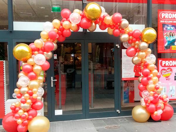 ballonnenboog rood goud - The Balloon Factory